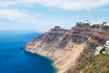 Santorini island and Aegan sea