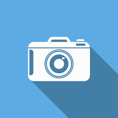 camera icon with long shadow