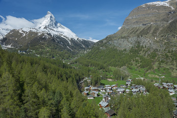 Zermatt with Mountain Matterhorn in Switzerland