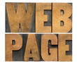 web page in wood type