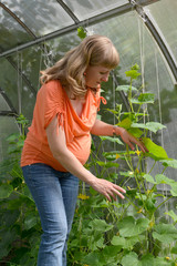 The pregnant woman works in the greenhouse