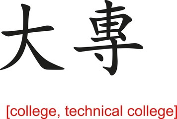 Chinese Sign for college, technical college