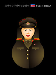 Matryoshka North Korean girl in military uniform
