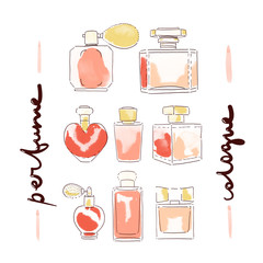 collection of perfume bottles illustration