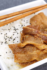 Japanese fast food grilled meat with white rice