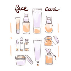collection of scin care products and cosmetics illustration