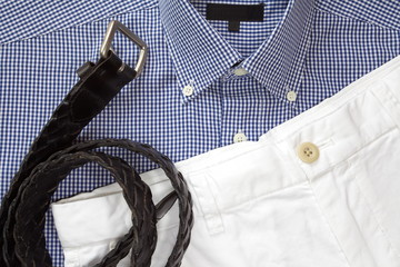 White short pants with shirt and belt