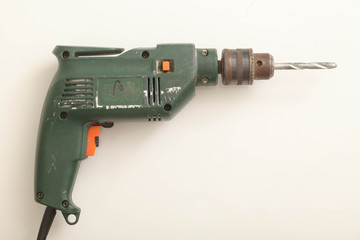cordless drill on white background