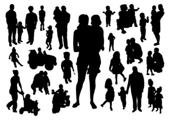 People and children silhouettes set