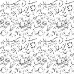Hand Drawn Cartoon Birds Seamless