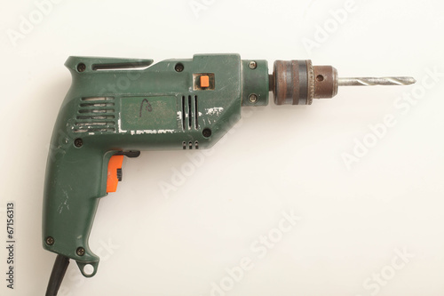 canvas print picture cordless drill on white background