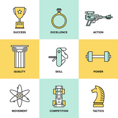 Business development skills flat icons set