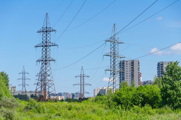 High voltage AC transmission towers.