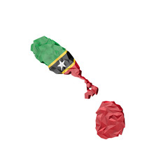 Low Poly Saint Kitts and Nevis Map with National Flag