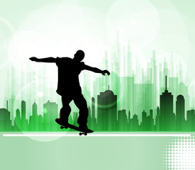 Skateboarder. City sport