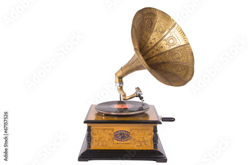 Papiers peints Magasin de musique Old gramophone isolated on a white background