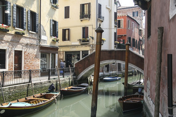 Canals of Venice with gondolas