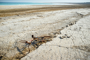 Rusty bike in the Negev desert near the Dead Sea