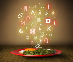 Fresh cook food with colorful letters on wood