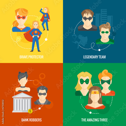 Superhero icon flat composition