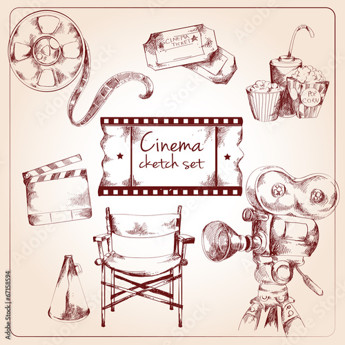 Cinema sketch set - 67158594