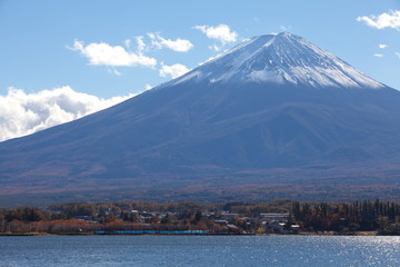 Mountain Fuji in autumn season from lake kawaguchiko