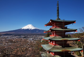 mountain fuji and chureito pagoda