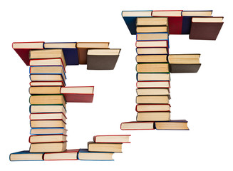 Alphabet made out of books, letters E and F