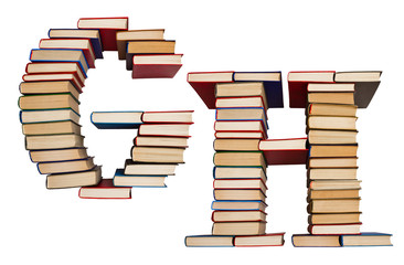 Alphabet made out of books, letters G and H