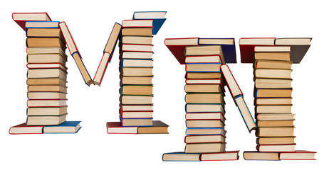 Alphabet made out of books, letters M and N