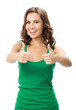 canvas print picture - Woman showing thumbs up gesture, isolated