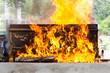 cremation at graveyard in thailand, coffin burning. - 67159180