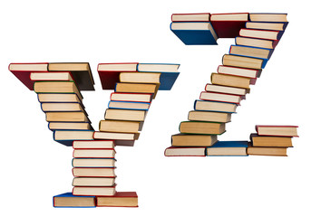 Alphabet made out of books, letters Y and Z