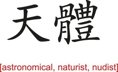Chinese Sign for astronomical, naturist, nudist