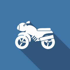 motorcycle icon with long shadow