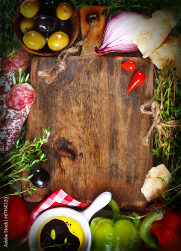 canvas print picture Italian food.