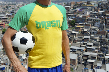 Brazilian Football Player Soccer Ball Favela Slum
