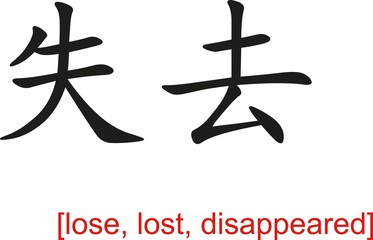 Chinese Sign for lose, lost, disappeared
