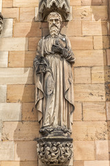 Saint Paul statue on the west front of Lichfield Cathedral