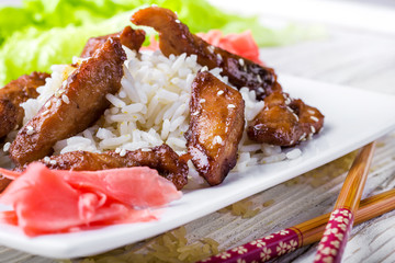 Teriyaki chicken with sesame oriental cuisine
