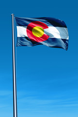 Colorado (USA) flag waving on the wind