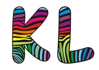Background skin zebra shaped letter K,L