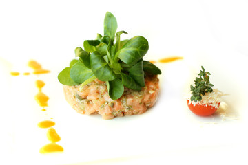 Gourmet fish salad, restaurant food