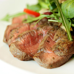 Gourmet restaurant food, meat and salad
