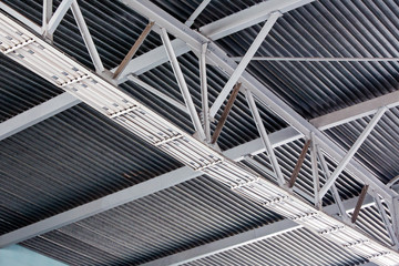 Modern metal roof inside storehouse