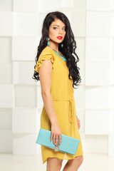 Beautiful brunette woman, fashion portrait
