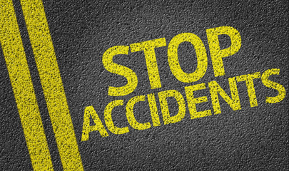 Stop Accidents written on the road