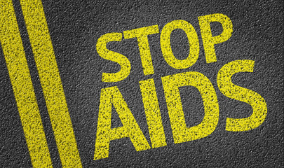 Stop AIDS written on the road