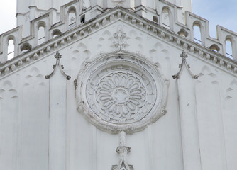 Closeup of carved design of St. Paul's Cathedral Kolkata