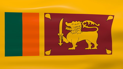 Waving Sri Lanka Flag, ready for seamless loop.